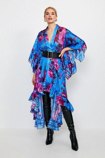 Blue Fluted Sleeve Maxi Dress