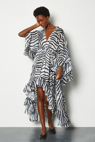 Zebra Fluted Sleeve Maxi Dress