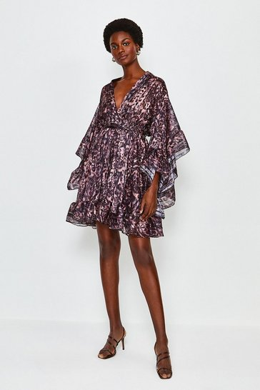 Pink Fluted Sleeve Wrap Short Dress