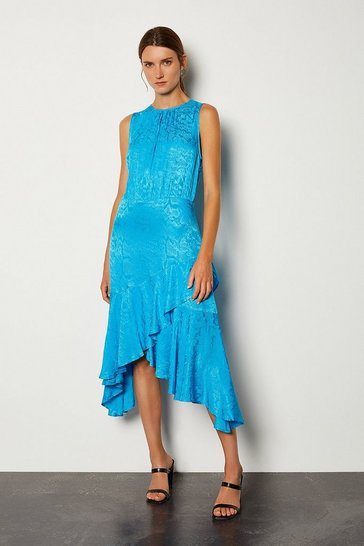 Blue Jacquard Sleeveless Dress