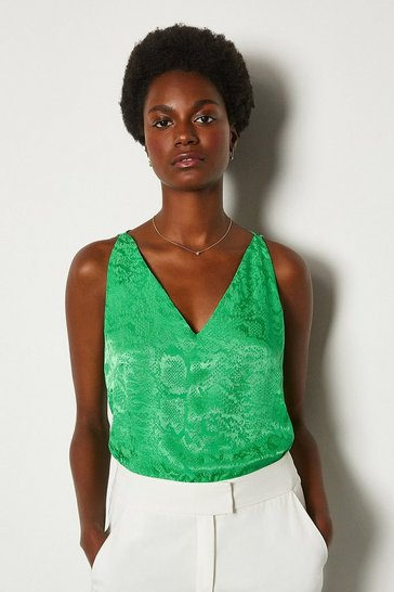 Green Animal Jacquard Cami