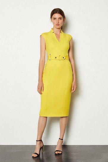 Yellow Forever Cinch Waist Cap Sleeve Pencil Dress