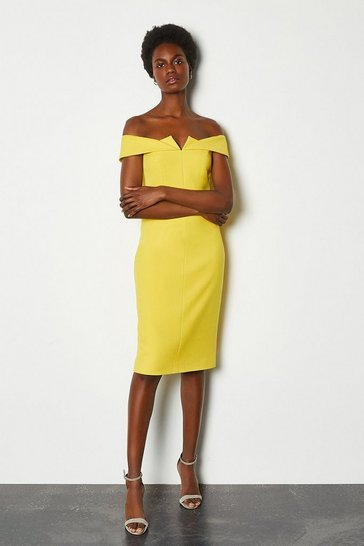 Yellow Forever Bardot Pencil Dress