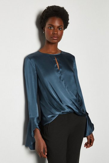 Blue Silk Satin Draped Blouse