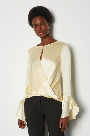 Ivory Silk Satin Draped Blouse