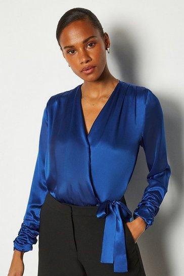 Cobalt Silk Satin Wrap Front Bodysuit