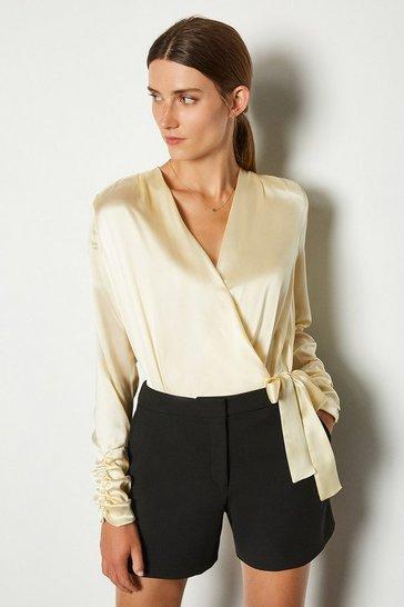 Ivory Silk Satin Wrap Front Bodysuit