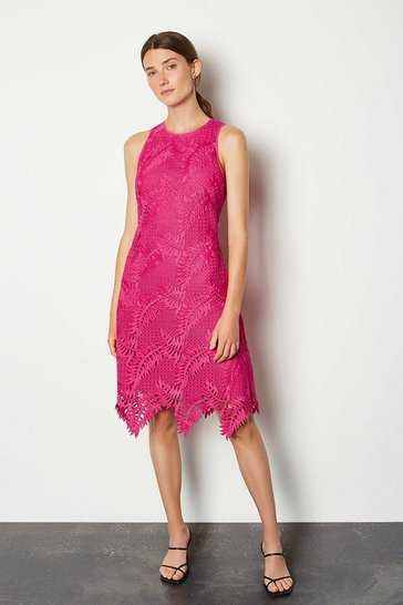 Pink Cutwork Lace Skater Dress