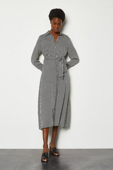 Black Stripe Tie Waist Shirt Dress
