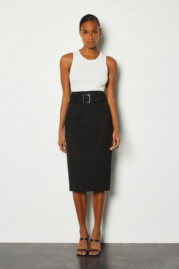Black Ponte Belted Pencil Skirt