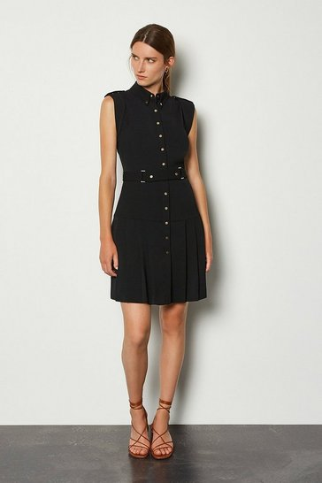 Black Soft Military Flippy Belted Dress