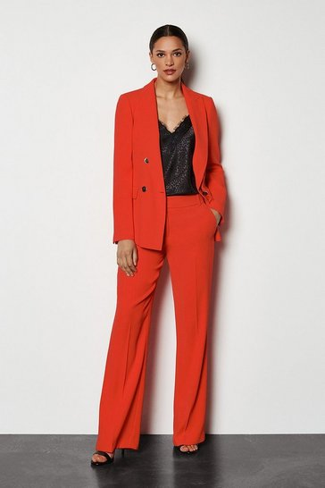 Red Tailored Kick-Flare Trouser