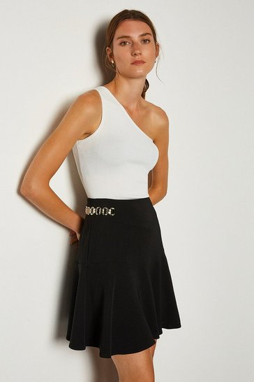Black Chain Detail Flippy Hem Skirt