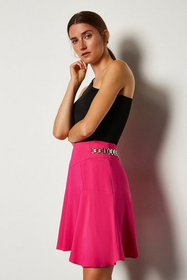 Pink Chain Detail Flippy Hem Skirt