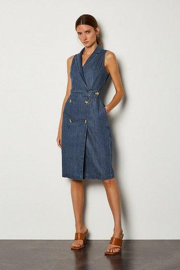 Indigo Tailored Denim Dress