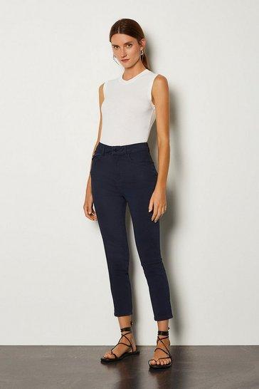Navy Skinny Cotton Capri Jean