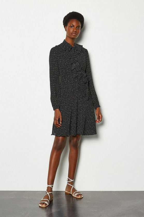 Black Polka Dot Ruffle Dress