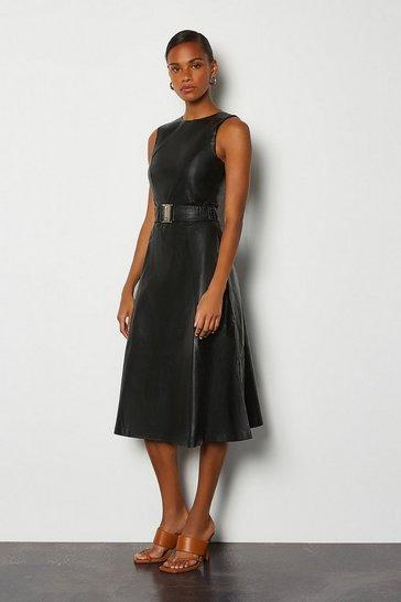 Black Leather A-Line Belted Dress
