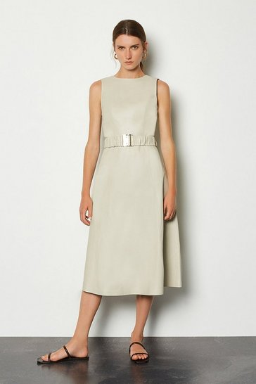 Cream Leather A-Line Belted Dress
