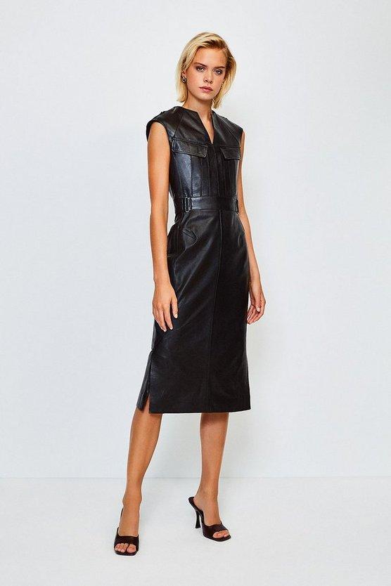 Black Leather Pocket Detail Dress