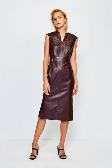Fig Leather Pocket Detail Dress