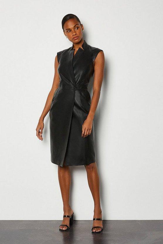 Black Leather Wrap Dress