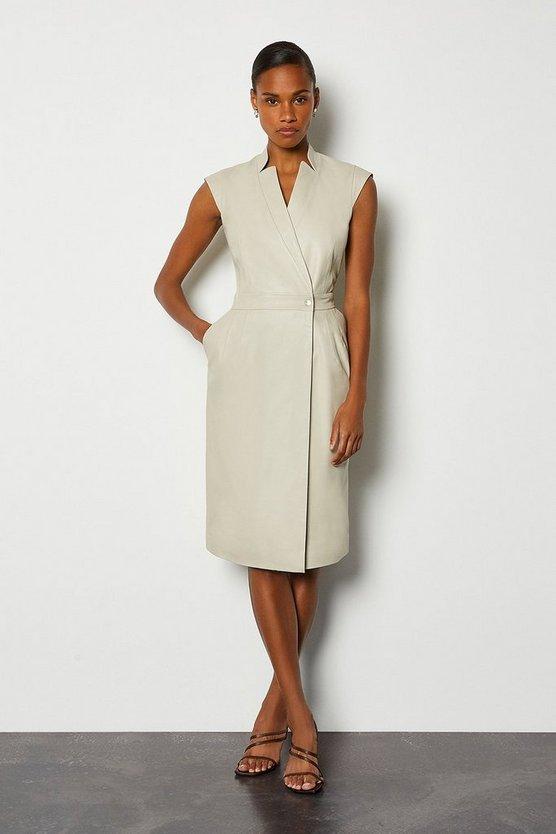 Cream Leather Wrap Dress