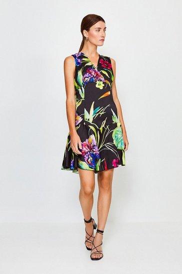 Black Floral Printed Flippy Dress