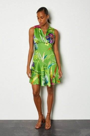 Green Floral Printed Flippy Dress