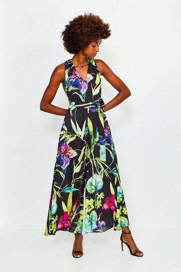 Black Floral Printed Jumpsuit