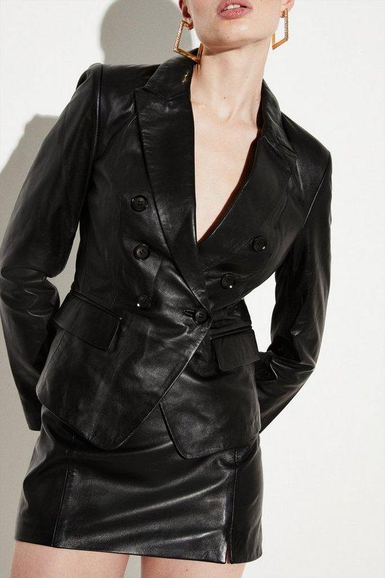 Black Leather Button Blazer