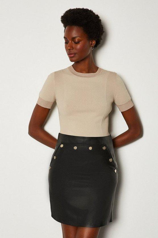Black Leather Button Mini Skirt