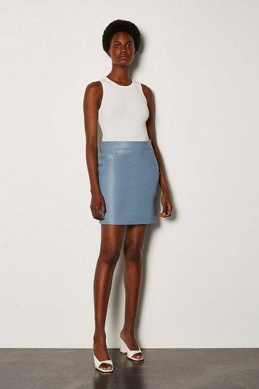 Pale blue Leather Button Mini Skirt