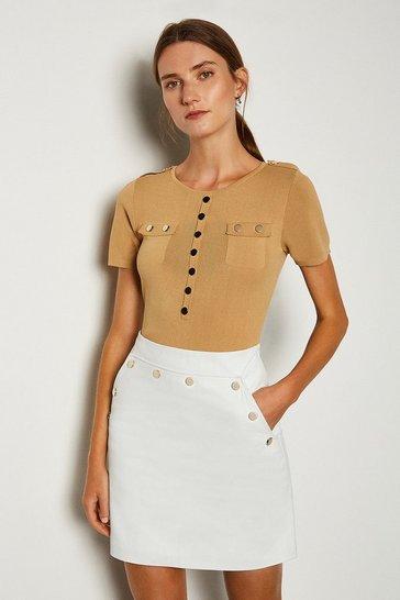 White Leather Button Mini Skirt