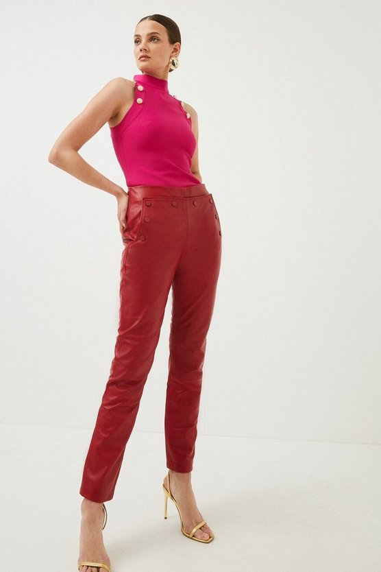 Red Leather Button Detail Trouser