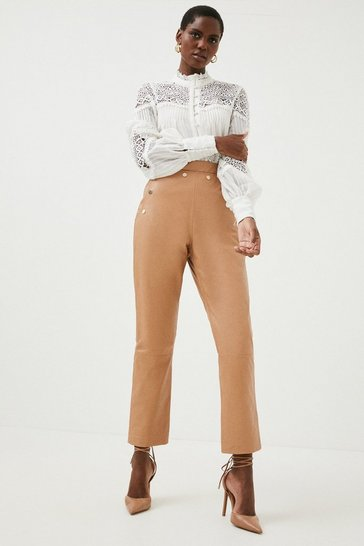 Tan Leather Button Detail Trouser