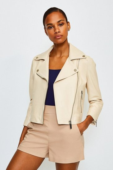 Beige Shrunken Leather Biker Jacket