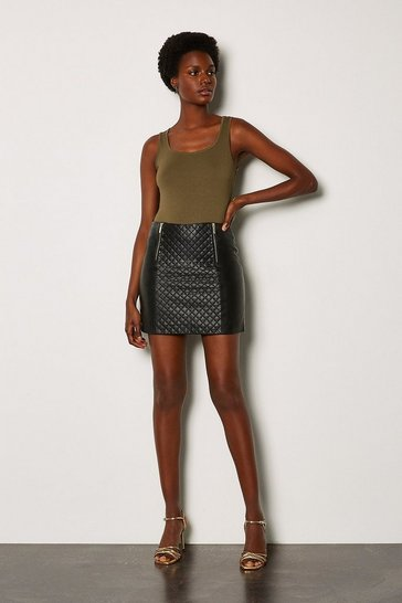 Black Leather Quilted Mini Skirt