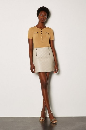 Cream Leather Quilted Mini Skirt