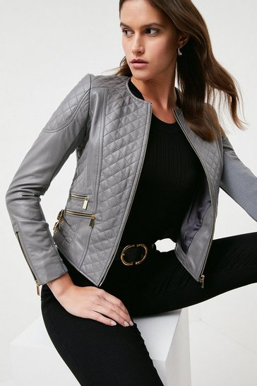 Grey Leather Quilted Biker Jacket
