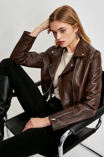 Chocolate Leather Signature Biker Jacket