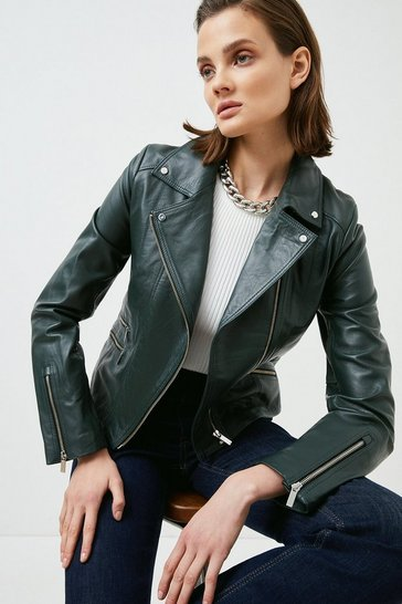 Green Leather Signature Biker Jacket