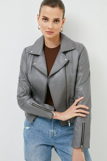 Grey Leather Signature Biker Jacket
