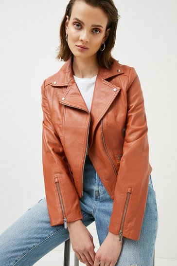 Light brown Leather Signature Biker Jacket