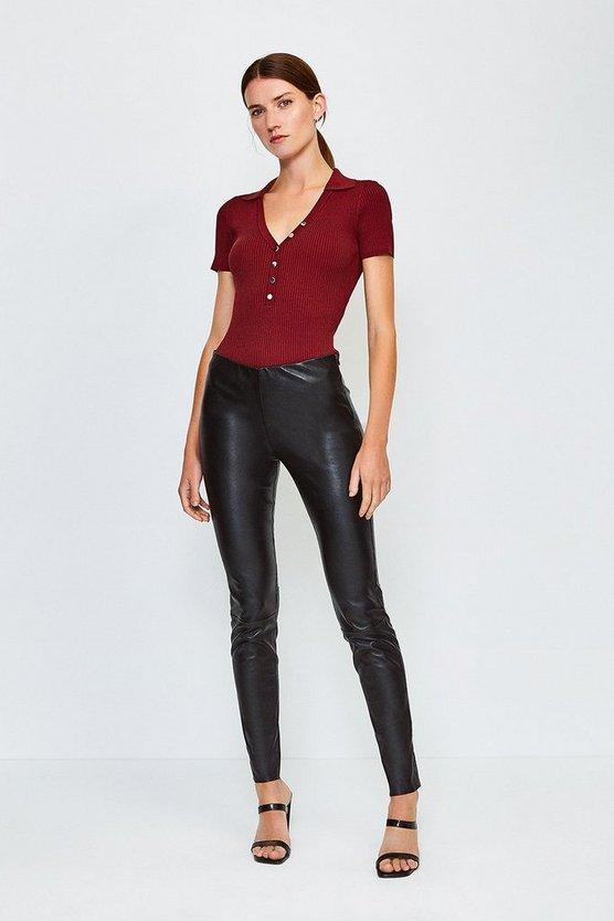 Black Stretch Leather Legging