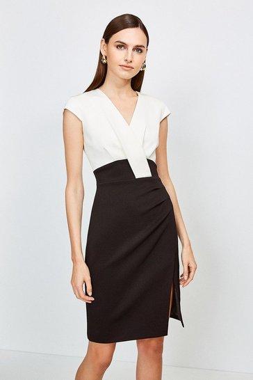 Blackwhite Italian Jersey Cap Sleeve Tuck Detail Dress