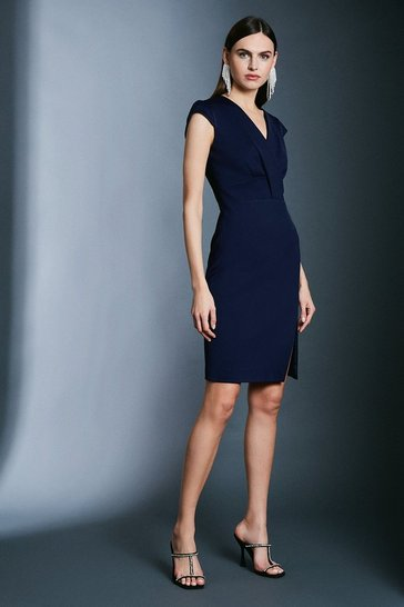 Navy Italian Jersey Cap Sleeve Tuck Detail Dress