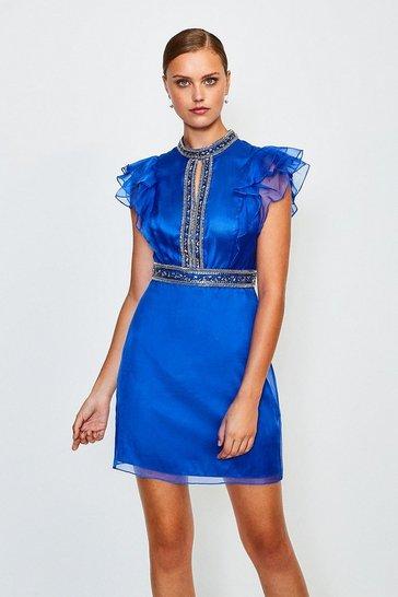 Blue Silk Organza Bead Sleeveless Dress