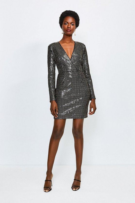 Gold Sequin Wrap Front Long Sleeve Dress