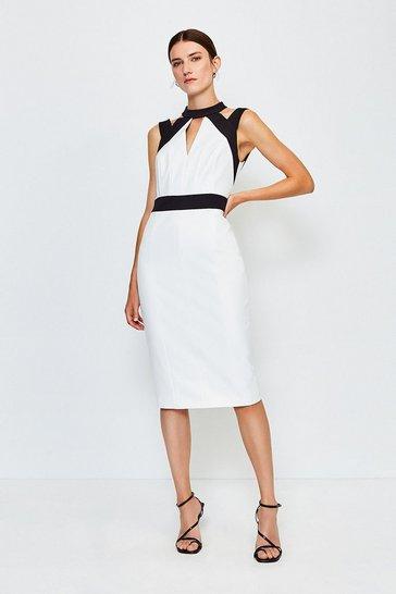 Blackwhite Cut Out Panelled Pencil Dress